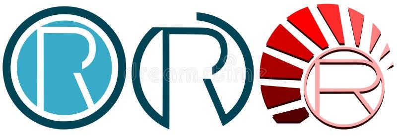 Satz Logos des Buchstabe-R lokalisiert vektor abbildung