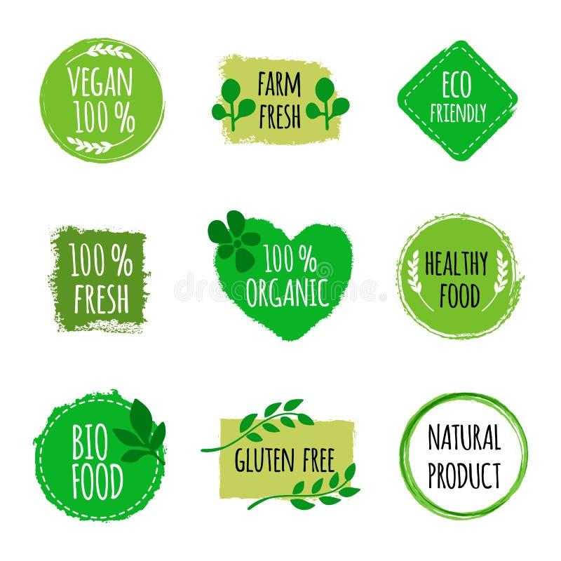 Satz Logos des strengen Vegetariers, Ausweise, Zeichen Hand gezeichnete Bio-, gesunde Lebensmittelausweise Logo des strengen Vege lizenzfreie abbildung