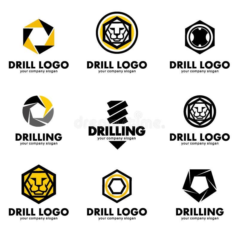 Satz Logos für das Werkzeug, Bohrer, bohrend Auch im corel abgehobenen Betrag lizenzfreie abbildung