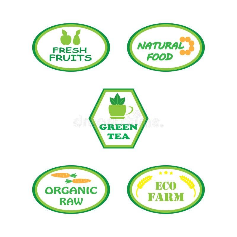 Satz Logos für organisches und Naturkost stockfotos