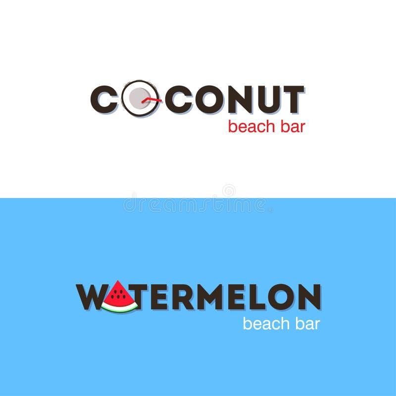 Satz Logos für Strandbar lizenzfreie abbildung