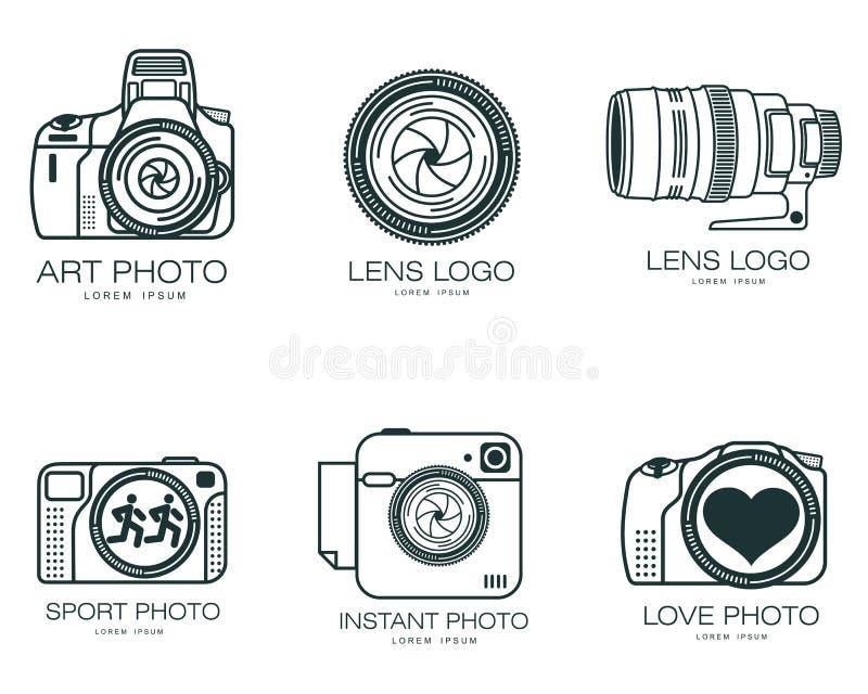 Satz Logos mit der Kamera lizenzfreie abbildung