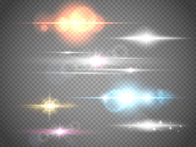 Satz lokalisierte Aufflackern Lichteffekte des Glühens für Ihre Grafik lizenzfreie abbildung