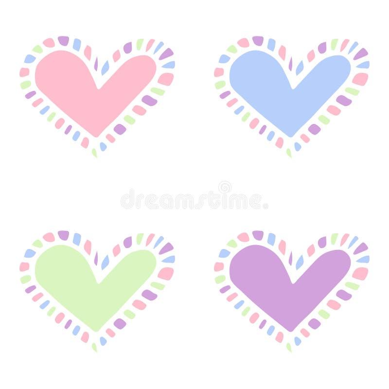 Satz lokalisierte bunte Gegenstände - Herzen mit Stellen lizenzfreie abbildung