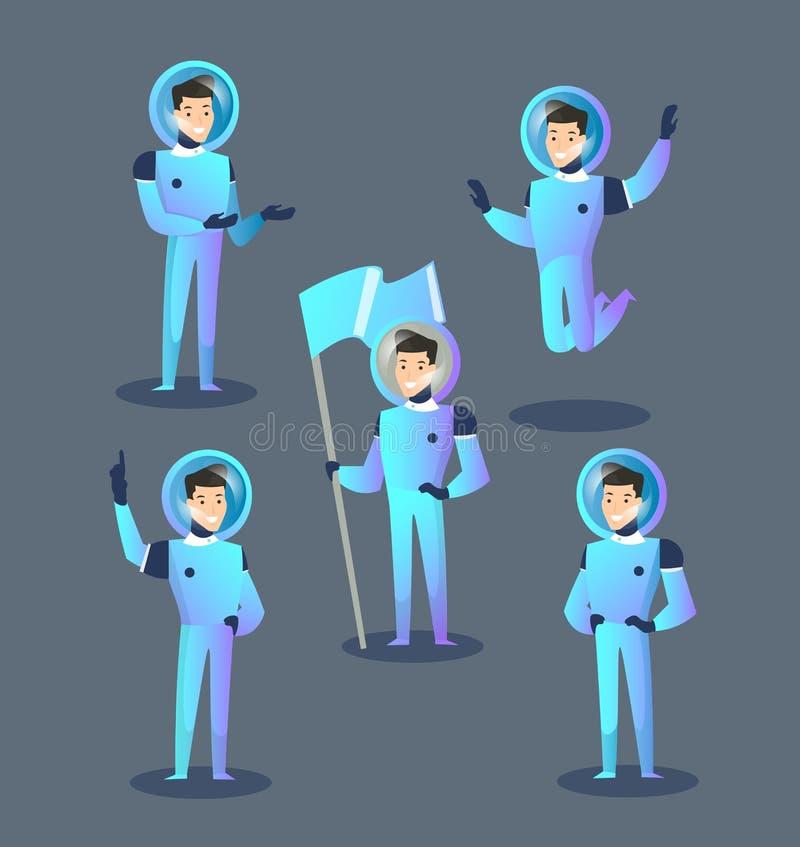 Satz lokalisierte glückliche Astronauten in den Spacesuits und Sturzhelme, die, Raum und Geste zeigend springen, stehen, Holdingf vektor abbildung