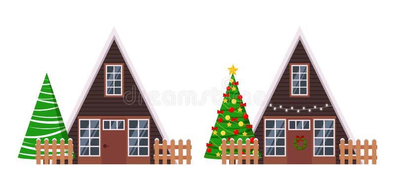 Satz lokalisierte hölzerne Einrahmenhäuser des ländlichen Bauernhofes mit Zäunen verzierte Girlande und Kranz, Fichten, Weihnacht stock abbildung