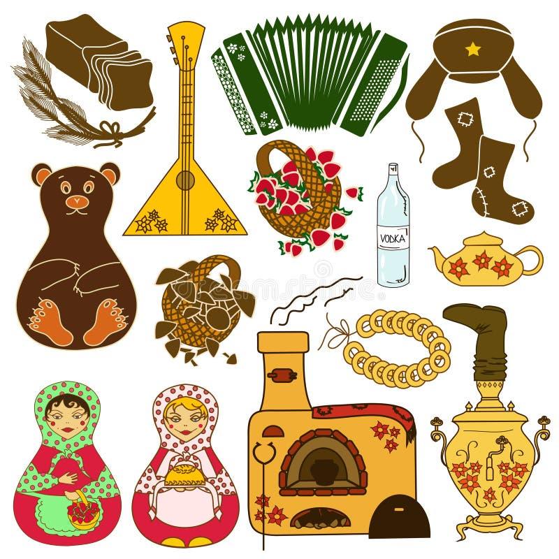 Satz lokalisierte Ikonen mit russischen Symbolen stock abbildung
