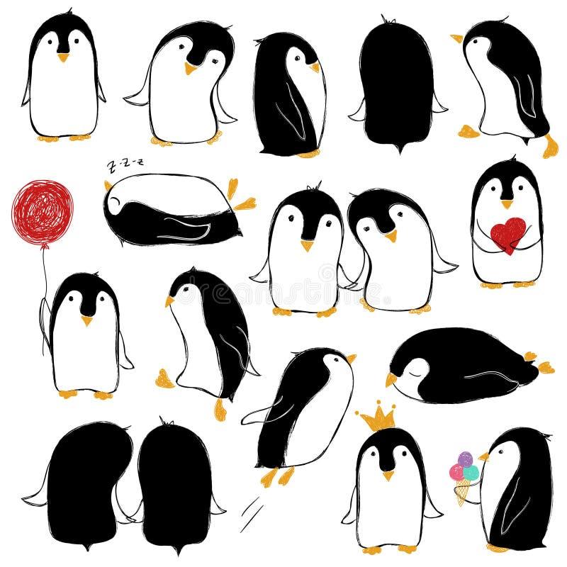 Satz lokalisierte lustige Pinguine lizenzfreie abbildung