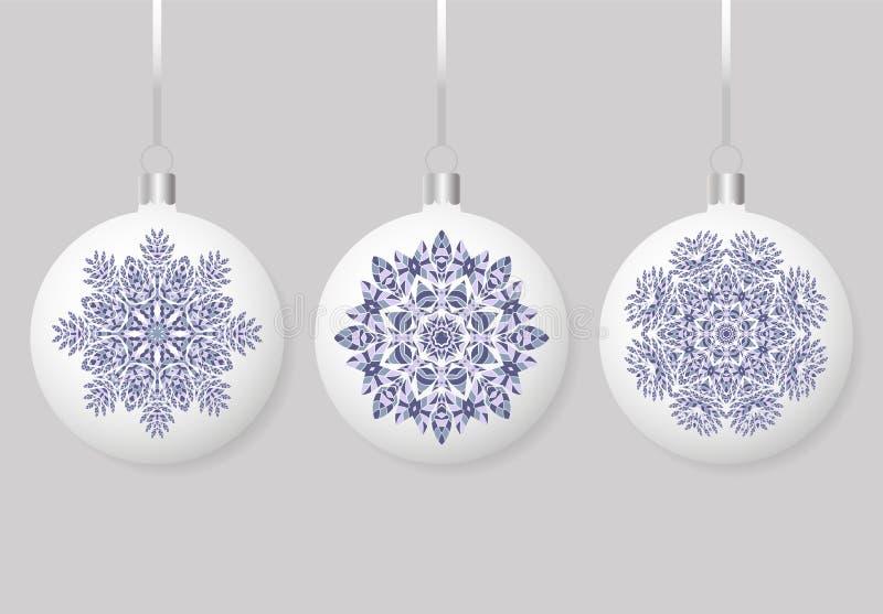 Satz lokalisierte ringsum die Bereich Weihnachtsbälle, die am Band hängen Sammlung Flitter mit Verzierungen stock abbildung