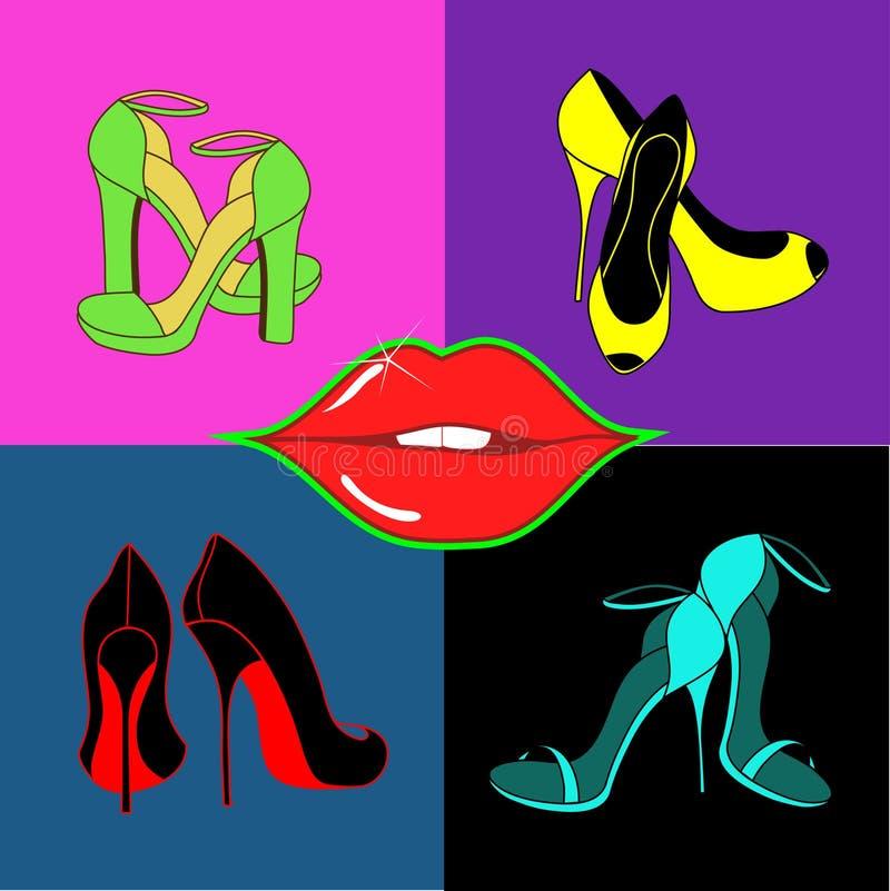 Satz lokalisierte weibliche Schuhe und Lippen stock abbildung
