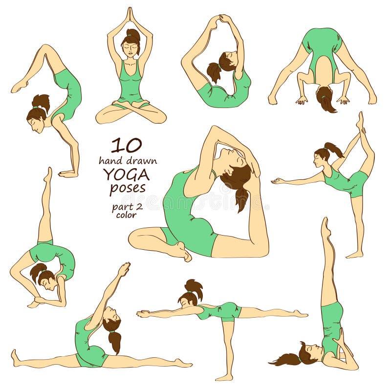 Satz lokalisierte Yogahaltungen vektor abbildung