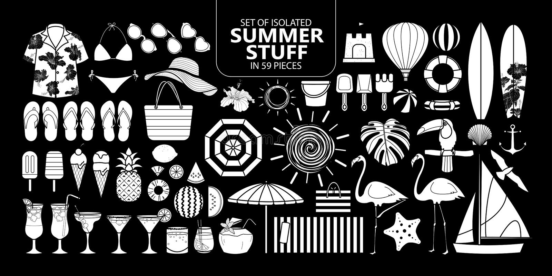Satz lokalisiertes Sommermaterial in 59 Stücken stock abbildung