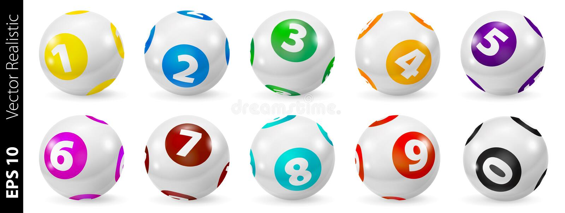 Satz Lotterie farbige Zahl-Bälle 0-9 vektor abbildung
