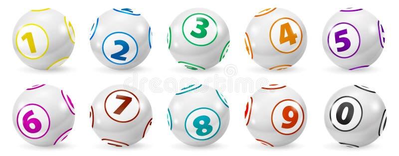 Satz Lotterie farbige Zahl-Bälle 0-9 lizenzfreie abbildung