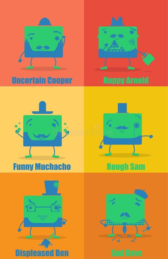 Satz lustige Charaktere stockfotos