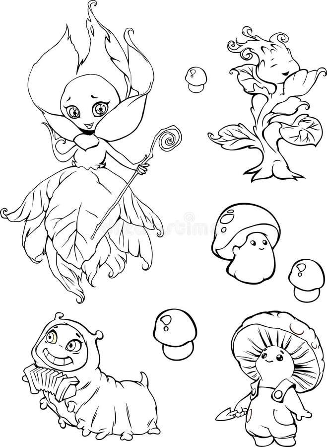 Satz lustige Karikaturgarten-Fantasiecharaktere stock abbildung