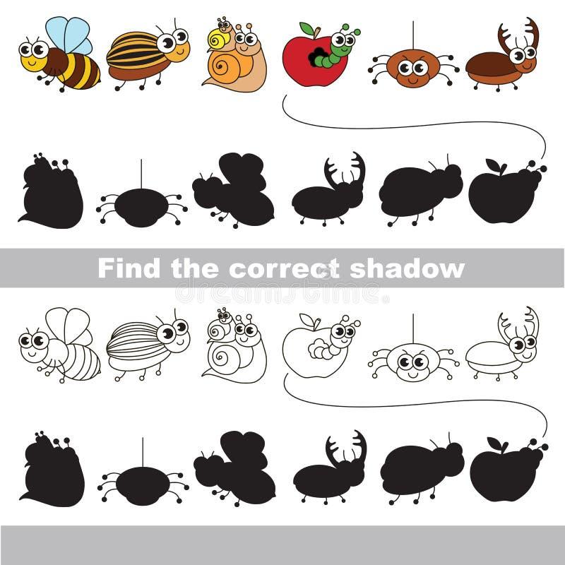 Satz lustige kleine Insekten Finden Sie korrekten Schatten vektor abbildung