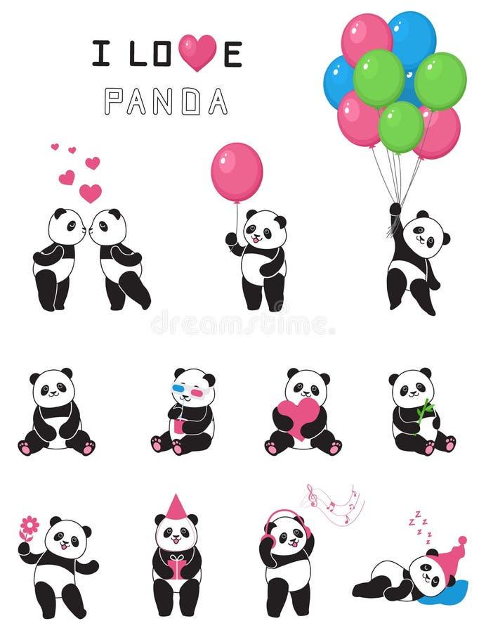 Satz lustige Pandas der Karikatur stock abbildung