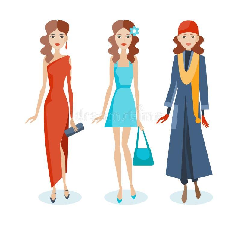 Satz Mädchen in den Kleidern, sarafans, Herbstkleidung, mit Zubehör lizenzfreie abbildung