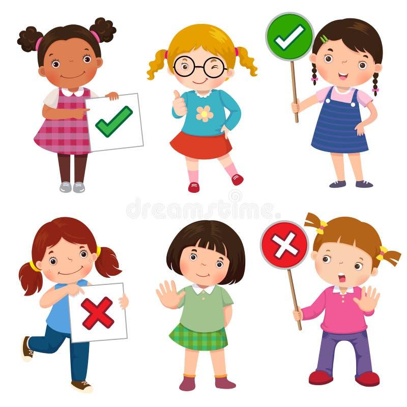 Satz Mädchen, die nach rechts halten und tun und falsche Zeichen vektor abbildung