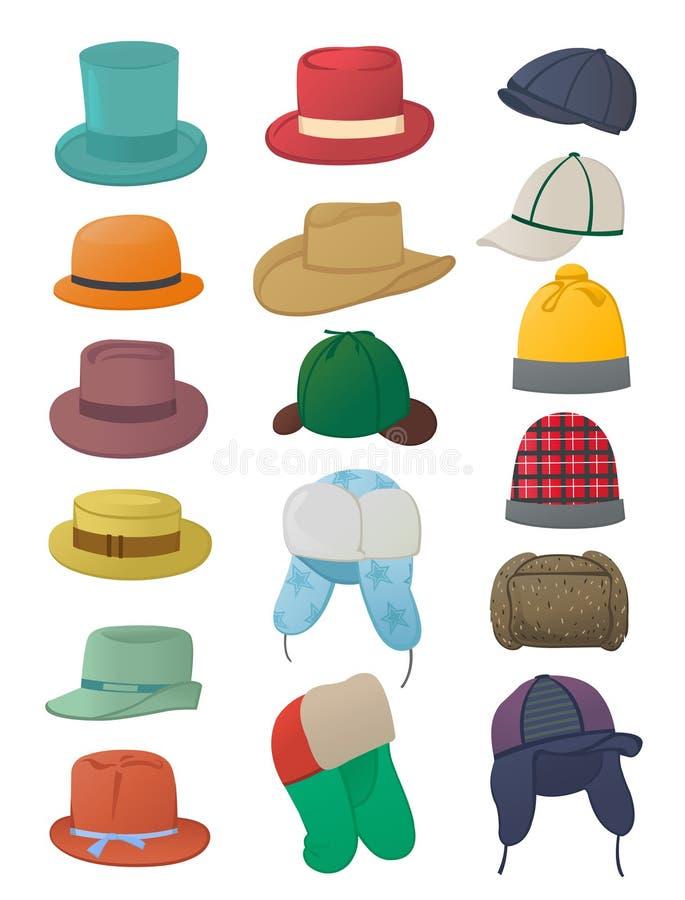 Satz Männer ` s Hüte stock abbildung
