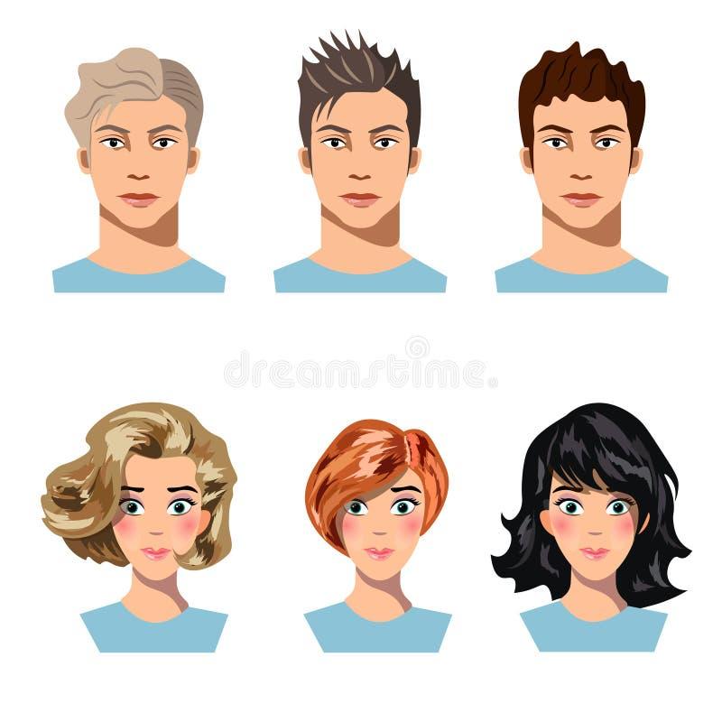 Satz Männer und Frauen im unterschiedlichen Haar lizenzfreie abbildung