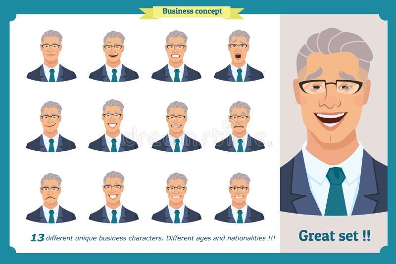 Satz männliche Gesichtsgefühle Gesichtsausdrücke eines Mannes flache Zeichentrickfilm-Figur Geschäftsmann in einer Klage Lokalisi lizenzfreie abbildung