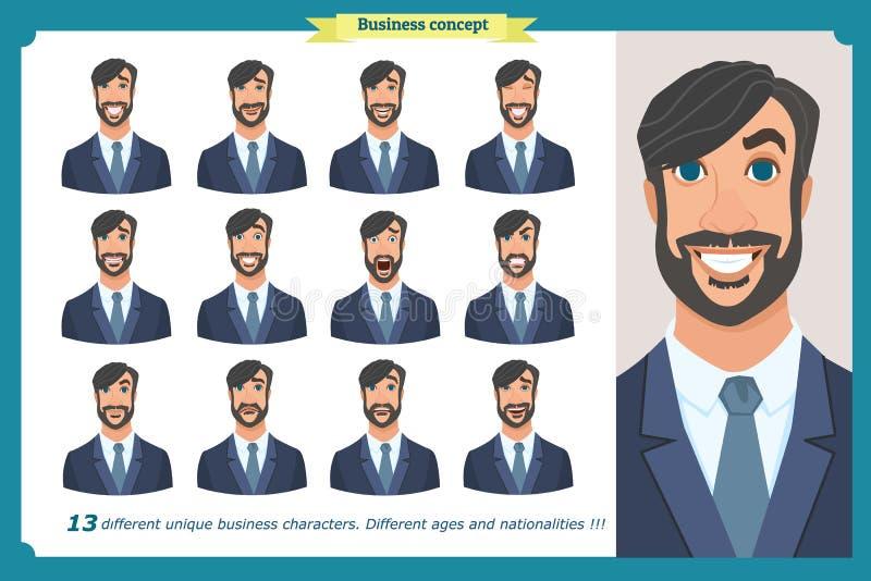 Satz männliche Gesichtsgefühle Gesichtsausdrücke eines Mannes Geschäftsmann in einem Anzug und in einer Bindung Lokalisierter Vek vektor abbildung