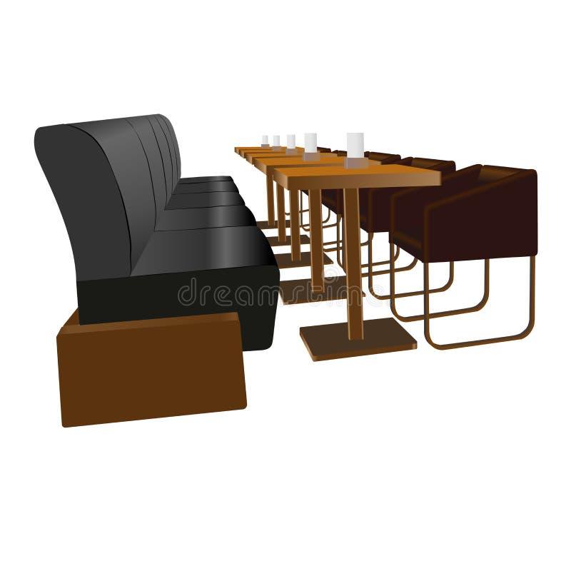 Satz Möbel für Stangen und Cafétabellen und -stühle lizenzfreie stockbilder