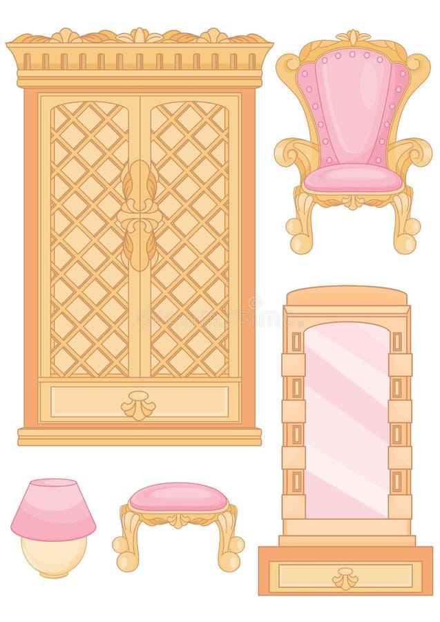 Satz Möbel im Schlafzimmer lizenzfreie abbildung