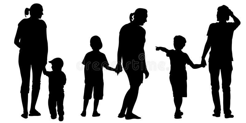 Satz Mütter, die Kinder halten stock abbildung