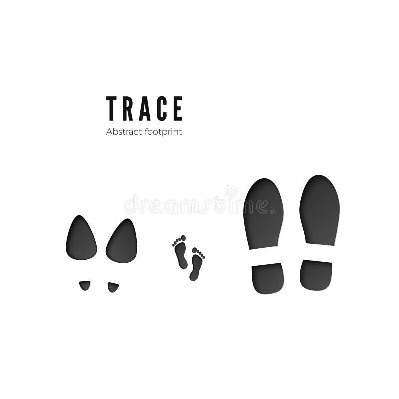 Satz Mannes-, Frau- und Kinderabdrücke Dunkle Ikone der Fußdruckspur lokalisiert auf weißem Hintergrund Vektor stock abbildung