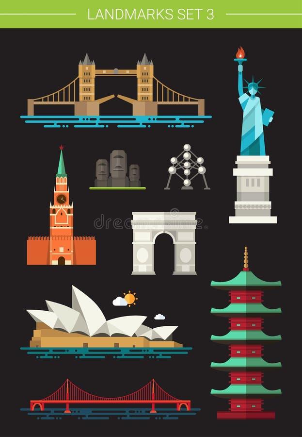 Satz Marksteinikonen des flachen Designs berühmte Welt stock abbildung