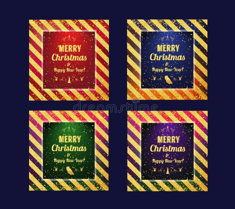 Satz Marry der Weihnachts- und guten Rutsch ins Neue Jahr2017 Karte Vector Goldfunkelndes Muster für Zertifikat, Geschenk, Beleg, stock abbildung