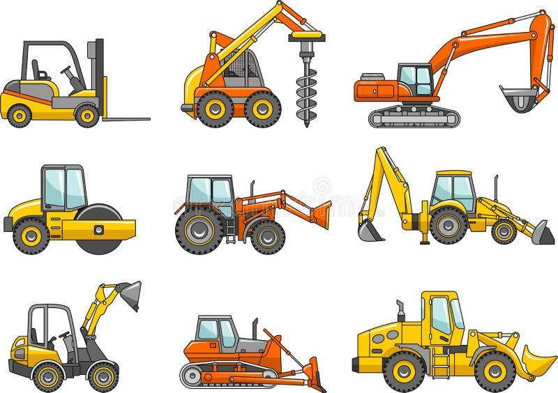 Satz Maschinen des schweren Baus Auch im corel abgehobenen Betrag stock abbildung