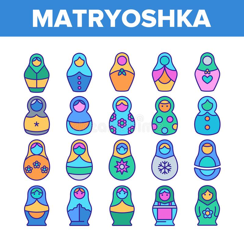Satz Matryoshka Toy Vector Color Line Icons stock abbildung