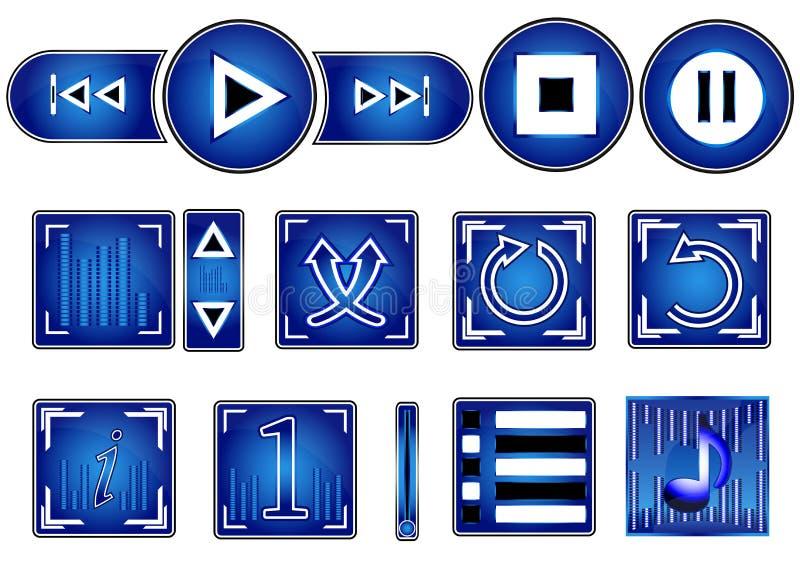 Satz Media Player-Knöpfe lokalisiert auf Weiß vektor abbildung