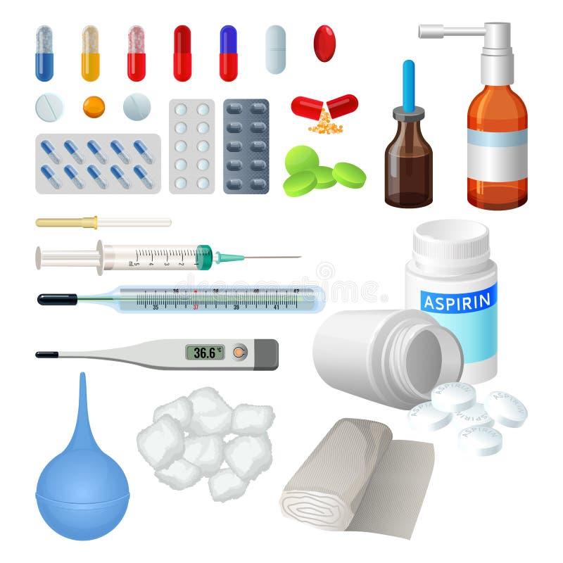 Satz medizinische Gegenstände des Vektors für Behandlung, Pillen und Kapseln lizenzfreie abbildung
