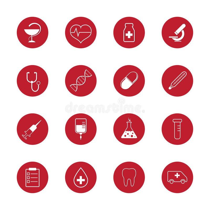 Satz medizinische Ikonen und Forschung des Vektors stock abbildung