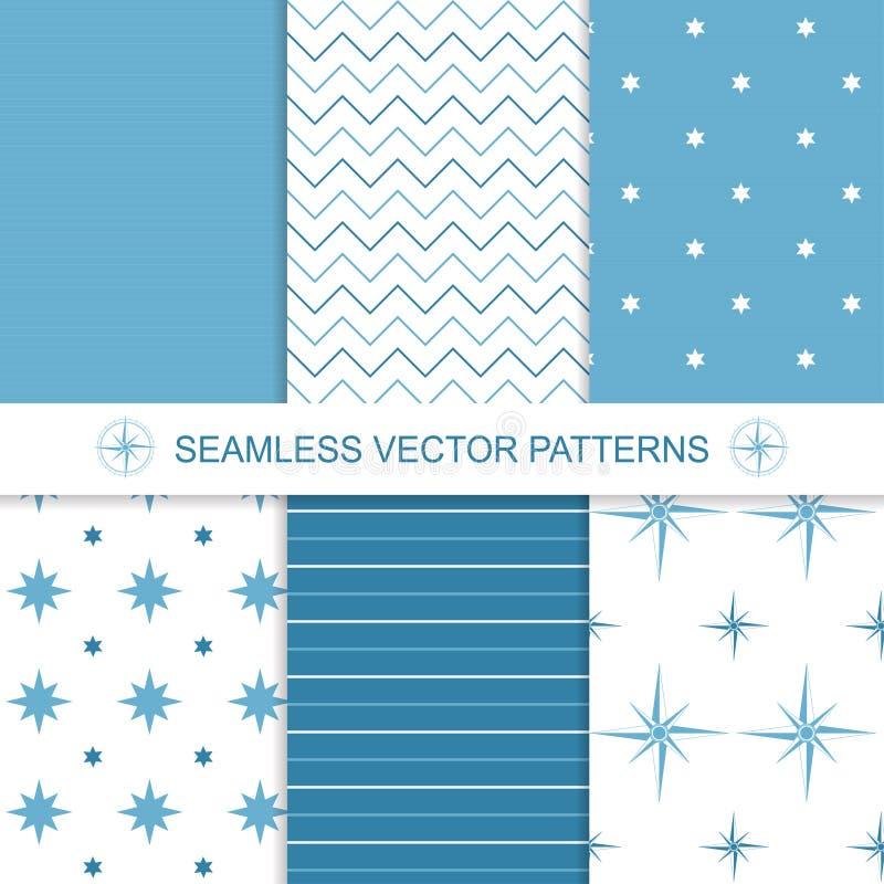 Satz Meer und Seehintergründe im Blau und lizenzfreie abbildung