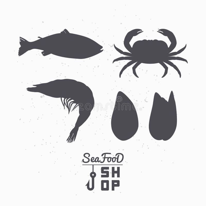 Satz Meerestierschattenbilder Fische, Krabbe, Garnele Und ...