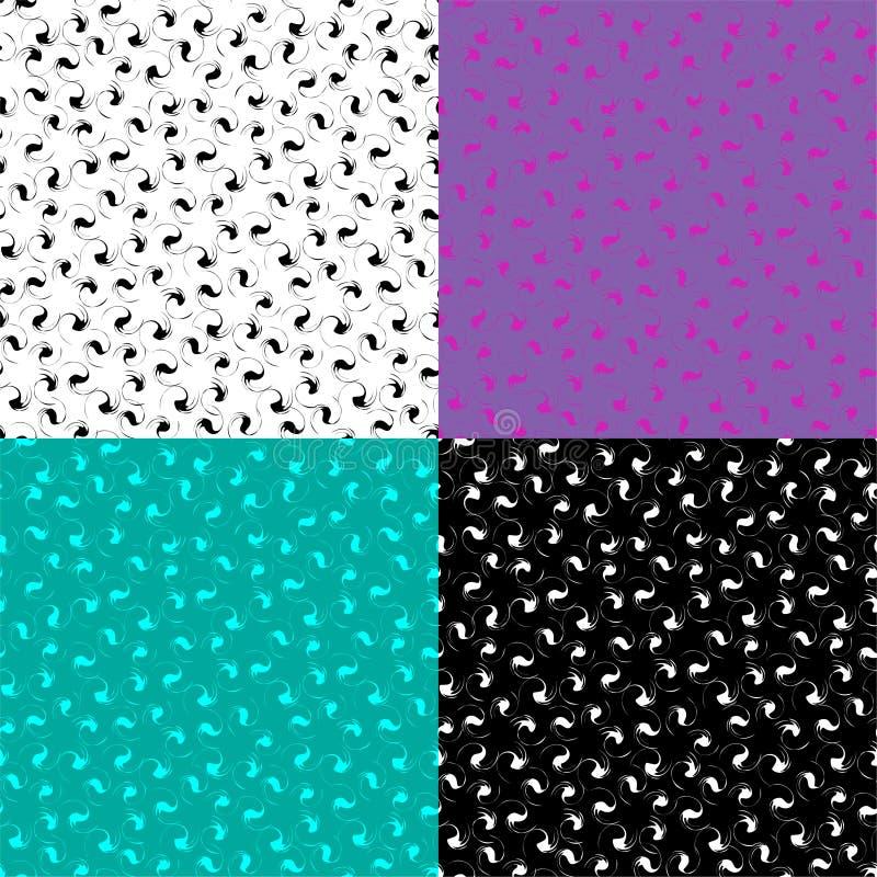 Satz mehrfarbige nahtlose Muster mit Blumen lizenzfreie stockfotos