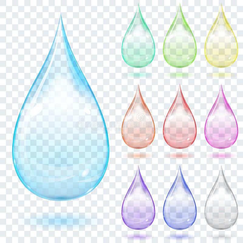 Satz mehrfarbige transparente Tropfen vektor abbildung