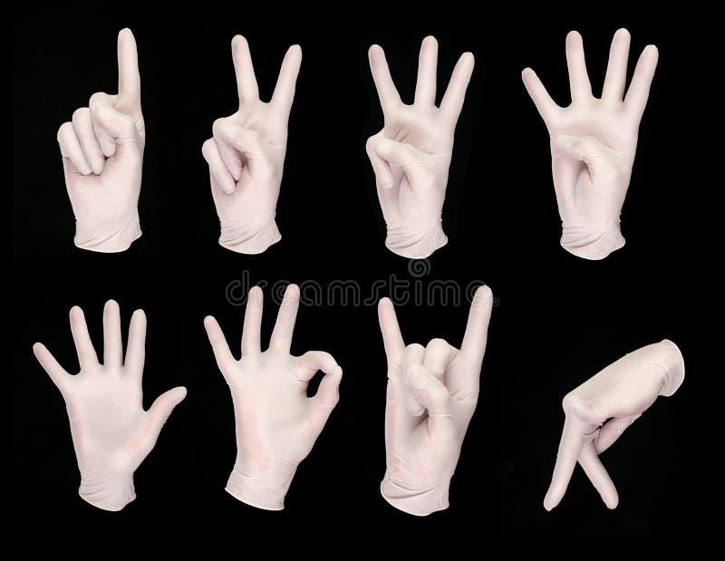 Satz menschliche Hände in den weißen Handschuhen lizenzfreies stockbild