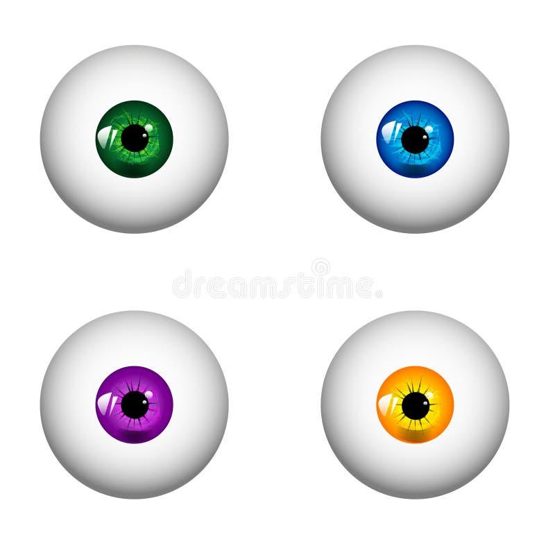 Satz menschliche realistische Augen mit verschiedenen Farben von Iris Vektorillustration - ENV 10 vektor abbildung