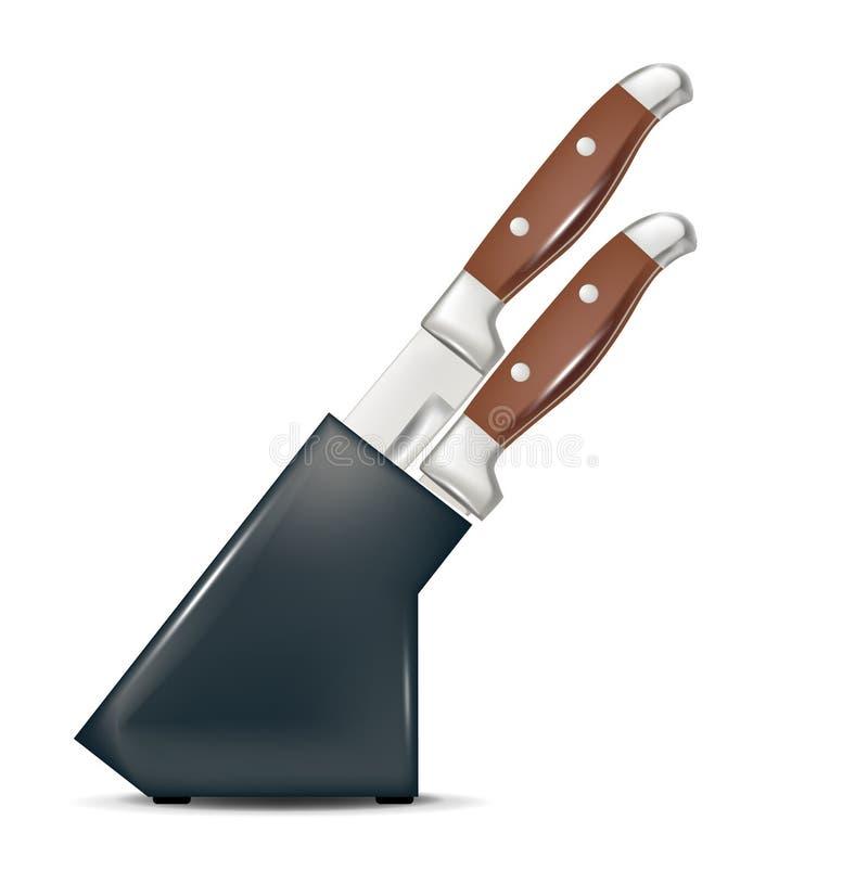 Satz Messer in einem hölzernen Messerblock lizenzfreie abbildung