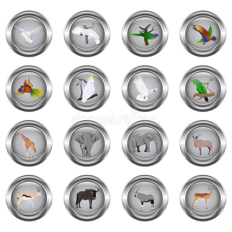 Satz Metall knöpft für Netz, Runde, mit Bildern von Tieren lizenzfreie abbildung
