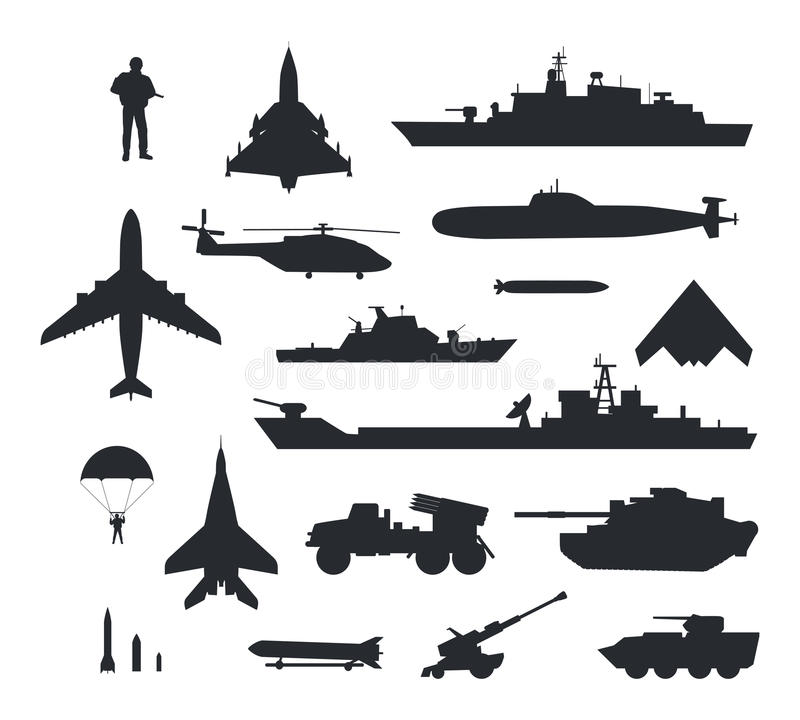 Satz Militärbewaffnungs-Vektor-Schattenbilder vektor abbildung
