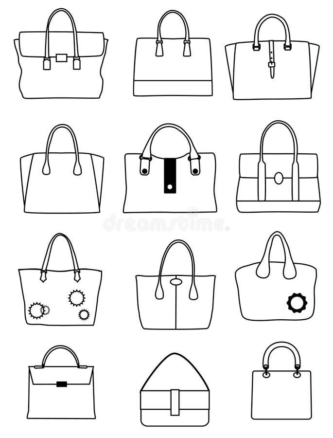 Satz Modehandtaschen stock abbildung