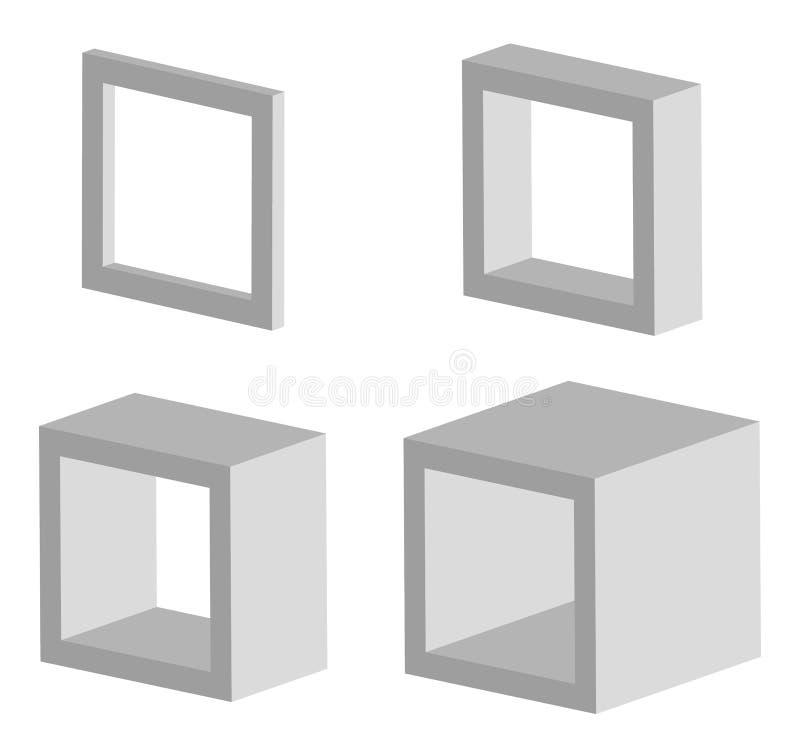 Satz Modellikonen des Quadrats 3d mit verschiedenen Tiefen vektor abbildung